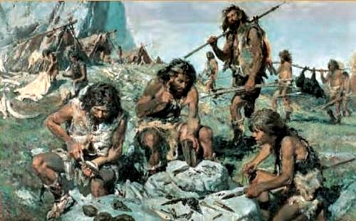 A group of Cro Magnon hunters