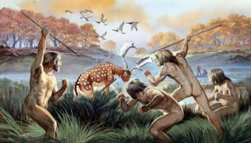 A group of prehistoric people chases a deer