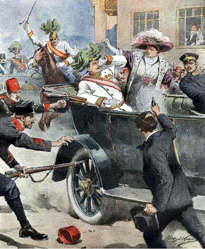 Illustration of the assassination in Sarajevo