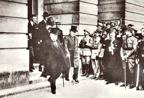 George Clemenceau and Lloyd George leave Trianon Palace Hotel