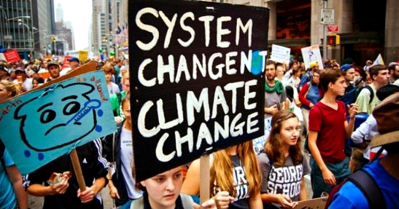 Young Americans in climate demonstration