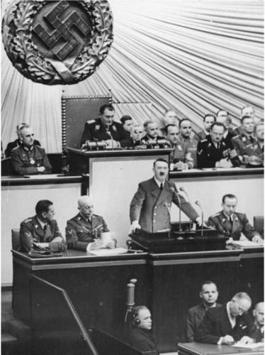 Hitler speaks to the Reichstag in the Kroll Opera House