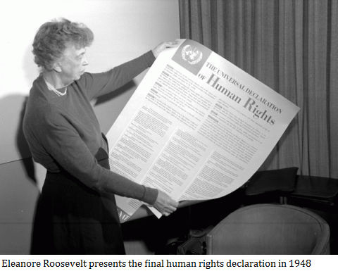Eleanore Roosevelt presents the final human rights declaration in 1948